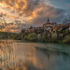 Novo mesto by Tomaž Mikec - City,  Street & Park  Vistas ( clouds, sky, sunset, slovenia, river, city )