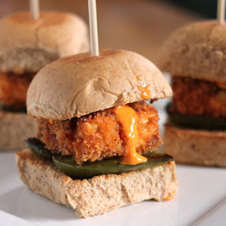 Crispy Tofu Sliders with Piquillo Pepper Allioli.
