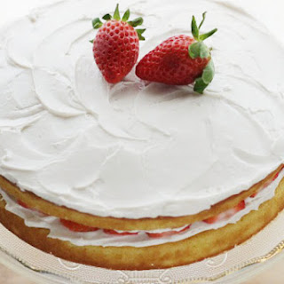 Lower Sugar Vanilla Cake with Strawberry Frosting.