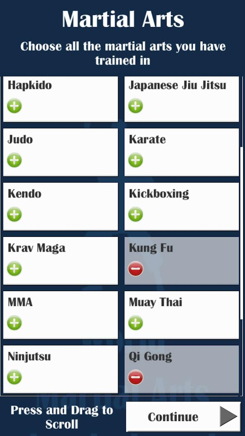 World Martial Arts Leaderboard- screenshot