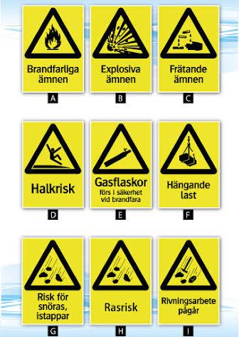 Skylt, varningsskylt v1, A4, 210x297mm