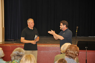 Photo: Mike Meredith thanks Michael Dylan Welch for editing the RASP poetry anthology.