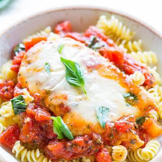 Tomato, Basil, and Mozzarella Chicken.