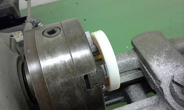 Photo: Used a lathe chuck to pull the finished wheel out of the mold.