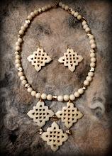 Photo: # 199 WEB OF DREAMS ~ МЕРЕЖИВО МРІЙ - bone, gold plate   $100/set