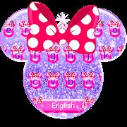 Purple Glitter Minny Bowknot Keyboard Theme