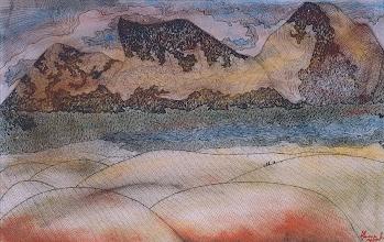 "Photo: Illusive Perceptions - Dusk at Noobra  14"" x 22"" 2000 - 2004 Pen & Ink on paper"