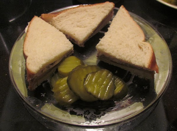 Sometimes I cut my sandwich into quarters like this. This sandwich is especially good...