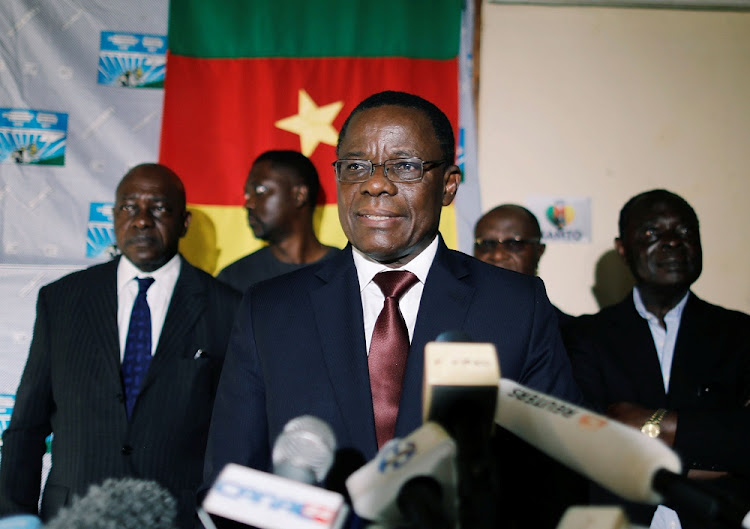 Maurice Kamto, a presidential candidate of Renaissance Movement holds a news conference at his headquarters in Yaounde, Cameroon, October 8 2018. Picture: REUTERS/ZOHRA BENSEMRA