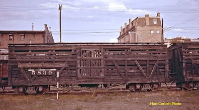 Photo: 074-24.  Double deck stock car #5830 in old yards north of Durango depot.  Area now is all parking lots or US Highway 550.  7/25/60.