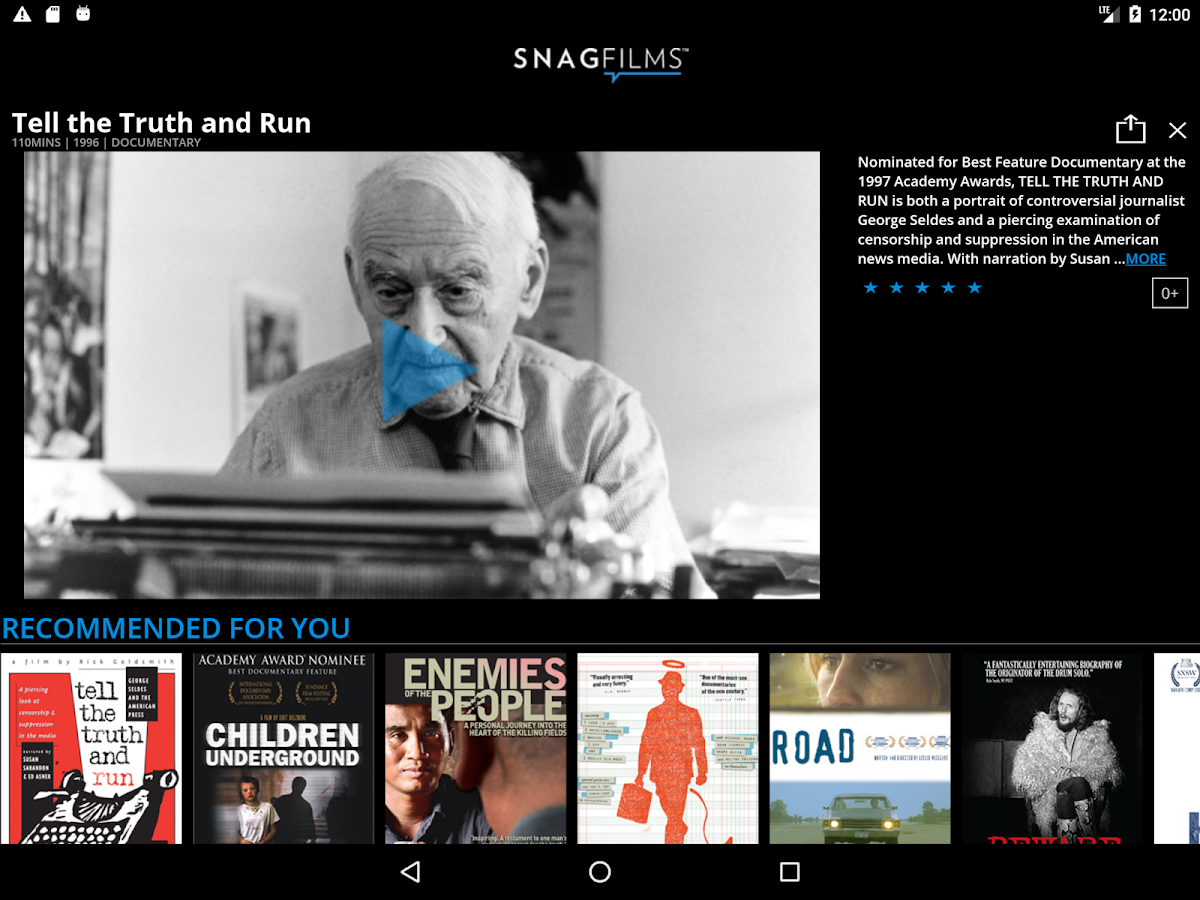 SnagFilms - Watch Free Movies- screenshot
