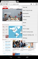 screenshot of Canon Print Service