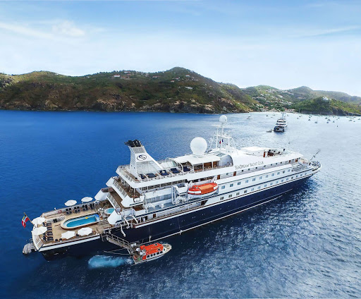 SeaDream's 112-passenger ship during a warm-weather sailing in the Caribbean.