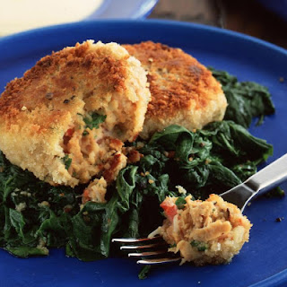 Crab Cakes with Spinach.