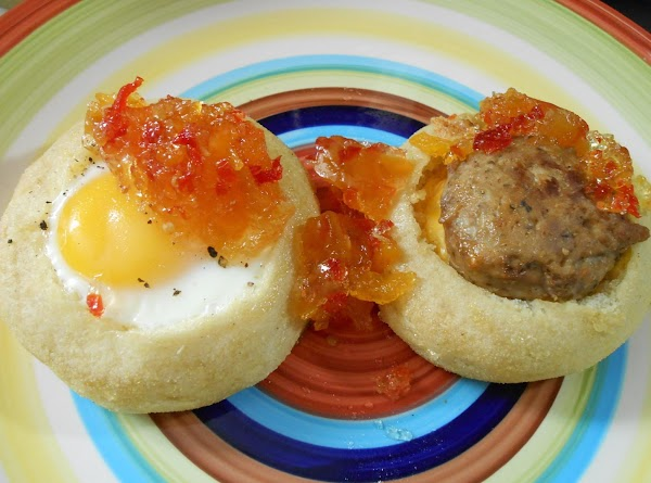 SAUSAGE:  Form mini sausage patties and cook.  Place small pc. of cheese...