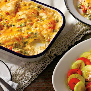 Chicken Primavera Croissant Bake with Strawberry-Cucumber Salad