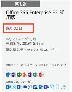 Office365の延長期間が更新されている