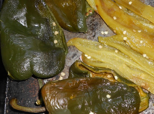 Day of cook, roast Poblano peppers.  Remove skin and seeds.