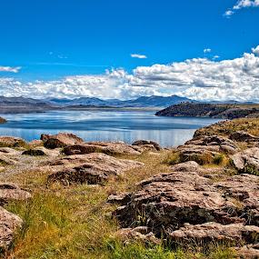 Peruvian landscape by Dmitry Samsonov - Backgrounds Nature ( peru, south america, sillustani, lake, stones )