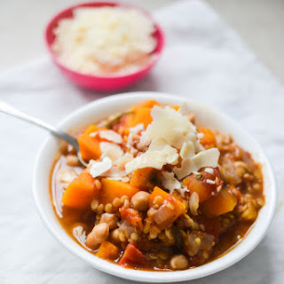 Slow Cooked Butternut Squash, Chickpea and Red Lentil Stew