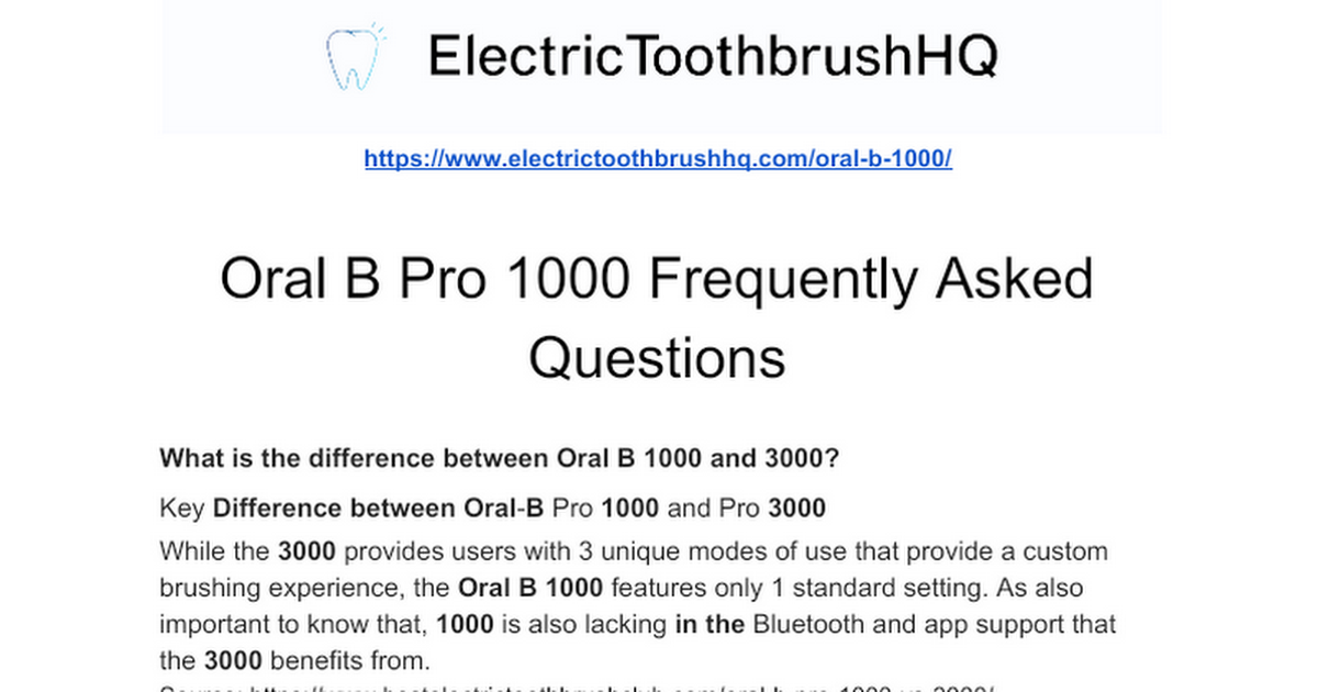 Oral B Pro 1000 Frequently Asked Questions