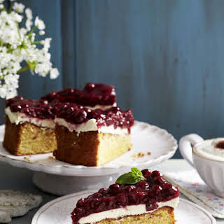 Mallorcan Almond Cake with Mascarpone and Cherries.