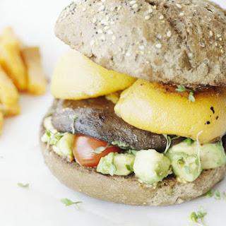 Roasted Portobello Mushroom and Peach Burger.