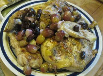 Roast chicken with olives, grapes