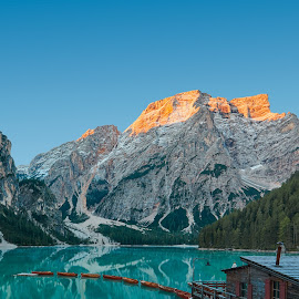 Lago di Braies by Michael Strobl - Landscapes Mountains & Hills ( sunrise, mountain, lake, landscape, italy )