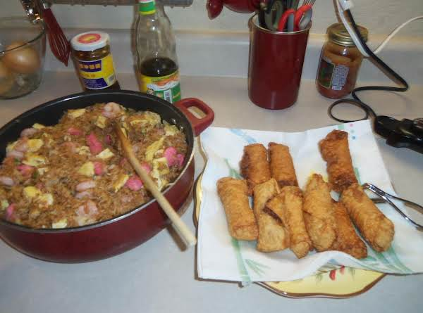 Pork Egg Rolls And Chicken And Shrimp Fried Rice..yummy