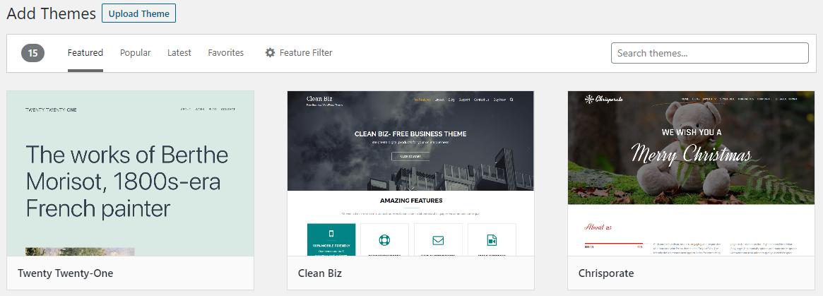 Uploading WordPress Theme