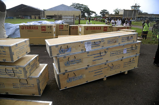World Health Organisation medical supplies to fight the Ebola virus arrive at the airport in Mbandaka, Democratic Republic of Congo, on May 19 2018. Picture: REUTERS