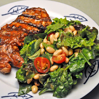 Grilled Pork Chops, Spinach and White Bean Salad.