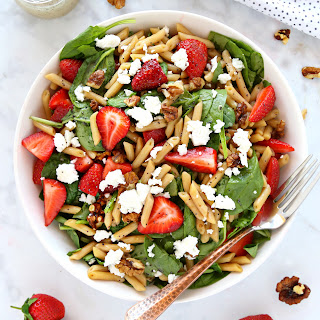 Strawberry Spinach Pasta Salad with Poppy Seed Dressing.