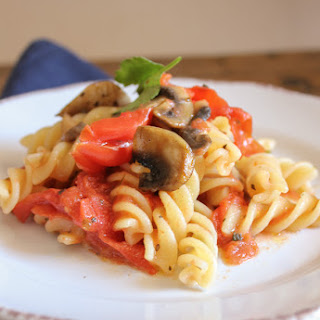 Fusilli With Fresh Tomatoes and Mushrooms.