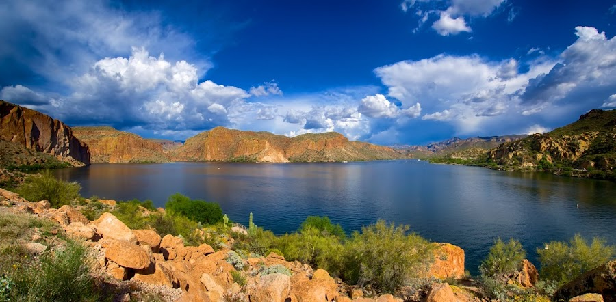 Canyon Lake Afternoon by Rob Wilson - Landscapes Waterscapes ( desert lake, lakes of arizona, afternoon skies, blue skies lake, arizona lakes, canyon lake )