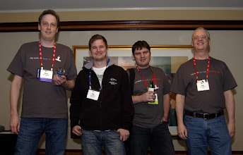 Photo: Award winning committers Boris Bokowski, Tom Schindl, Simon Kaegi and Paul Webster at EclipseCon 2010
