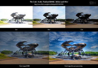 Photo: HDR Before-and-After: The Crab ( photo bit.ly/gp-crabbna )  Here is the before-and-after comparison of the image I posted yesterday. Notice the difference between the left and the right image in the upper row? In the middle exposure, some of the details in the sky and in the crab are lost due to the lack of dynamic range.  What else? - Did you know that Live View can help you greatly in getting tack sharp images? Read more here: [ bit.ly/gp-focustip ] - Still not on the HDR@G+ list? Well, then it's about time to join over 1000 HDR photographers at [ http://bit.ly/gphdrlist ]  Enjoy!