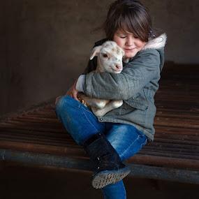 Little lamb by Chrismari Van Der Westhuizen - Babies & Children Child Portraits ( pets, childhood, children, kids portrait, animals, sheep, kids )