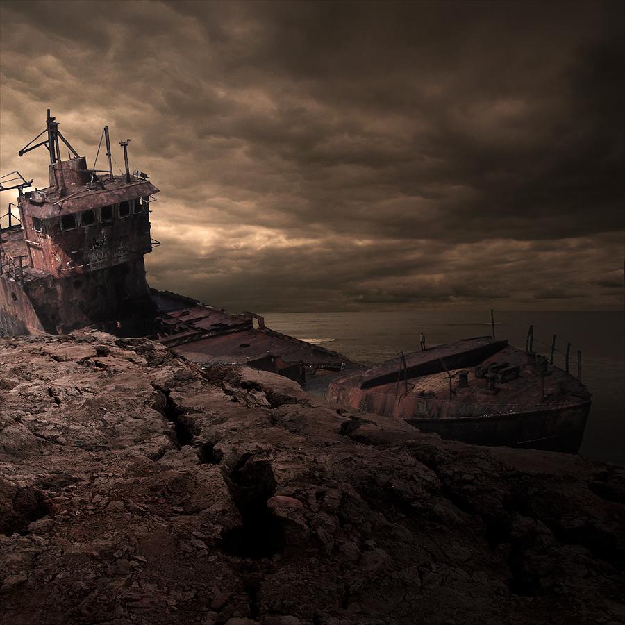 Wreck land by Tomasz Z - Digital Art Places ( sky, wreck, ship, sea, beach )
