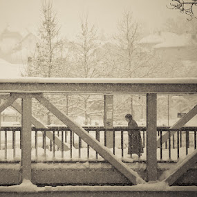 Vitality by Dejan Ilijic - People Fine Art ( winter, snow, bridge, old woman )