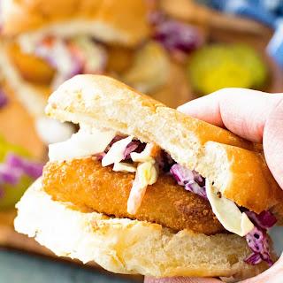 Fish Sandwich with Garlic Aioli Coleslaw.