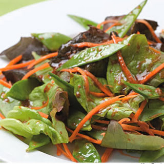 Snow Pea & Carrot Salad With Miso-Tamari Dressing