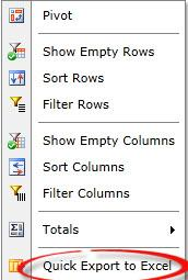 screenshot of Quick Export to Excel option