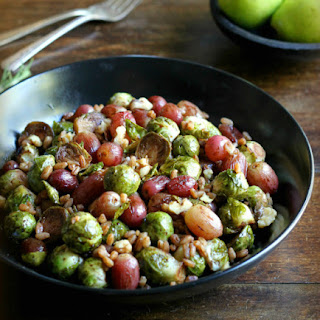 Roasted Brussels Sprouts and Grapes with Farro and Walnuts Recipe