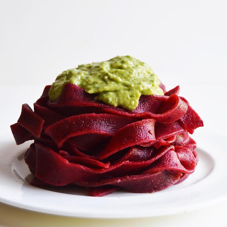 Homemade Roasted Beetroot Fettuccine with Avocado Pesto