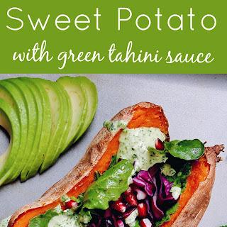BAKED SWEET POTATO WITH GREEN TAHINI SAUCE