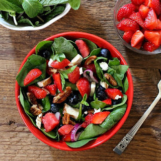 Spinach Salad with Roast Chicken, Strawberries, Watermelon and Feta.