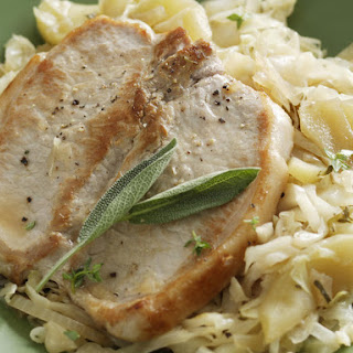 Pork Chops with Cabbage and Apples.