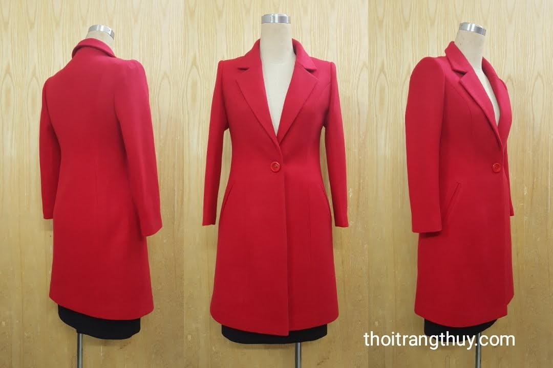 Áo khoác dạ nữ dáng dài cổ vest một cúc V512 tại hải phòng